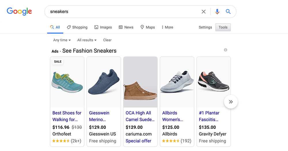 google shopping ads serp